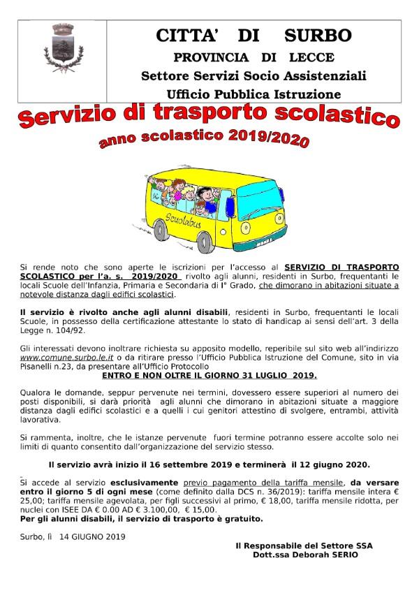 Calendario Mensile Giugno 2020.Citta Di Surbo Servizio Di Trasporto Scolastico A S 2019 2020